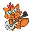 Cat with guitar happy cartoon vector image