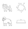 Cow sheep a drop of milk butter milk set vector image