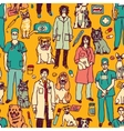 Veterinary people and pets seamless pattern vector image