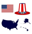 Map of the USA with a hat and flag on white vector image vector image