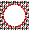 Harlequin Hearts Red Black and White Art vector image vector image