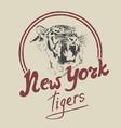 new york tiger retro label vector image vector image