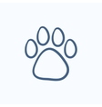 Paw print sketch icon vector image