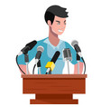 angry politician man speaking from rostrum vector image