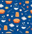 apple pie ingredients pattern on blue background vector image