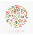 christmas and new year outline icon greeting card vector image