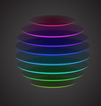 Colourful sliced sphere on dark background vector image