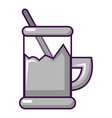 metal glass cup for tea icon cartoon style vector image