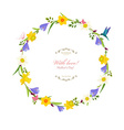 Round border with spring flowers vector image