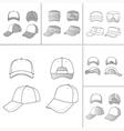 Tennis cap set vector image vector image