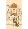 England town silhouette with people vector image vector image