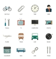 Set of flat style icons vector image