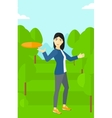 Woman playing flying disc vector image