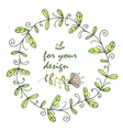 wreath frame with floral patterns for design vector image