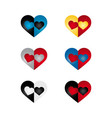 Hearts set bi color vector image