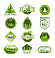 icons set eco nature ecology company vector image