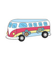 retro hippie bus transportation with flowers vector image