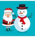 santa claus and snowman with blue background vector image