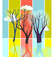 Stylized tree silhouettes on color textured vector image