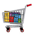shopping bags and shopping cart package market vector image