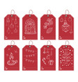winter and new year gift tags set hand drawn vector image