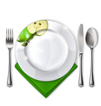 Plate with spoon knife and fork vector image vector image