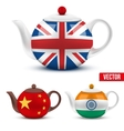 Set of ceramic teapot with flag British India and vector image