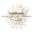 shop emblem over sunflower sketch vector image vector image