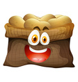 Bag of potatoes with face vector image