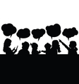 children with speech bubble silhouette vector image