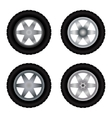 Car wheels different colors vector image