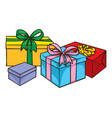 color boxes with gifts vector image