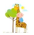 Little boy hugging a giraffe childish friendship vector image