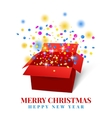 Open gift box with red ribbon colorful confetti vector image