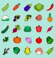 set of vegetables sticker on blue background vector image