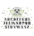 Stock set of serif stencil plate font vector image