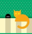 funny orange cat sitting near mouse hole vector image