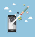 pencil rocket launch out of smartphone vector image