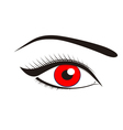 Beautiful red eyes vector image