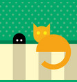 funny orange cat sitting near mouse hole vector image