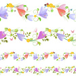 Lovely collection of seamless borders with spring vector image