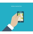 Mobile gps navigation on mobile phone with map vector image