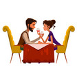young passionate couple drinking wine in cafe vector image