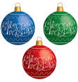 Christmas ball with elegant lettering vector image vector image