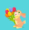 cute bunny holding bouquet of tulip cartoon vector image