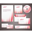 Red corporate identity template with vertical vector image