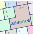 advance on computer keyboard key enter button vector image vector image