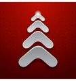 Abstract white christmas tree on red background vector image