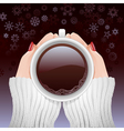 Cup of hot coffee in cold season vector image