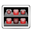 Delete cross red app icons vector image